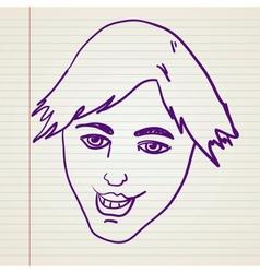 Scribble happy face vector image