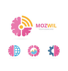 set of brain logo combination education and vector image vector image