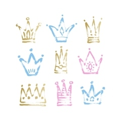 Sketch drawing princess and the king crown vector