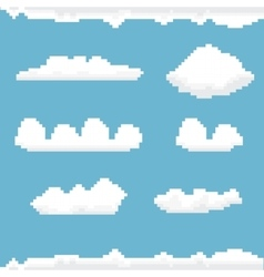 sky with clouds pixel art background vector image