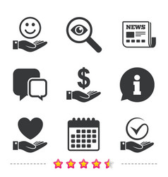 Smile and hand icon heart tick symbol vector