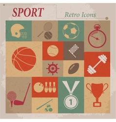 Sport flat retro icons vector