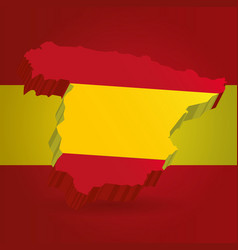three dimensional map of spain in spanish flag vector image vector image