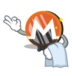 Waiter monero coin character cartoon vector