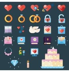 Wedding modern icons vector