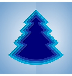 White and blue paper christmas tree vector image
