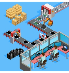 Conveyor manufacturing line operators isometric vector