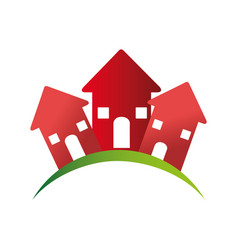 Color pictogram with group of houses vector