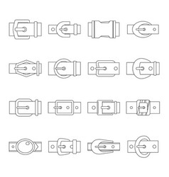 belt buckles icons set outline style vector image