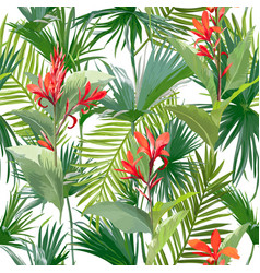 Tropical palm leaves and flowers seamless pattern vector