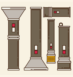 Flashlight set in flat style vector