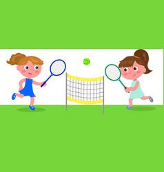Young cartoon woman playing tennis vector