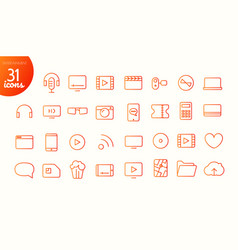 Modern media web and mobile app thin line icons vector
