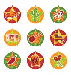 mexican icons vector image