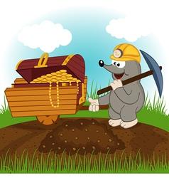 mole dug treasure vector image