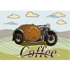 Retro banner with a barrel of coffee vector