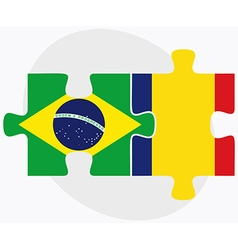 Brazil and romania flags vector