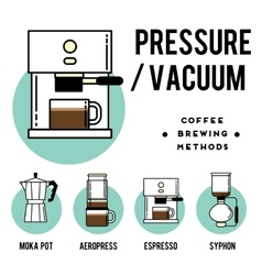 Coffee brewing methods pressure or vecuum vector