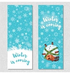 Winter banner design vertical background set with vector