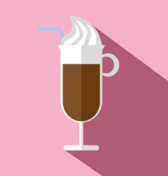 Glass of hot brown coffee with ice cream vector