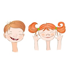 Boy and Girl smile vector image