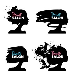 Set of beautiful girl silhouettes logo collection vector