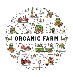 Agriculture and organic farm fresh line art vector