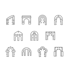 Arches black line icons set vector