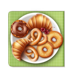 bakery products on plate vector image vector image
