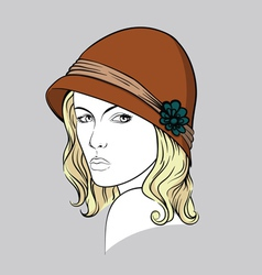 Blonde woman with brown hat vector