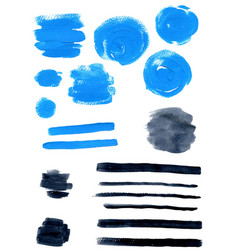 blue and black watercolor blots vector image vector image