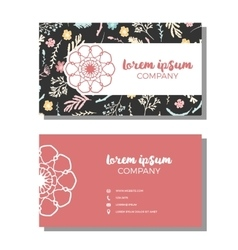 Busines cards with floral pattern vector