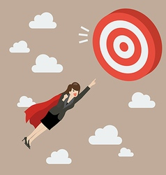 Business woman super hero fly to big target vector
