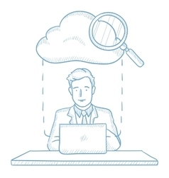 Businessman and cloud computing technology vector