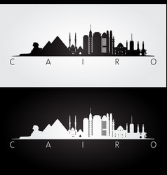Cairo skyline and landmarks silhouette vector