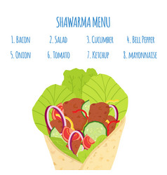 Cartoon shawarma menu ingredients doner fastfood vector