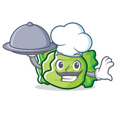 Chef with food lettuce character mascot style vector
