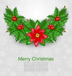 Christmas Decoration with Holly Berry vector image vector image