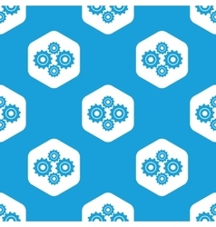Cogs hexagon pattern vector image