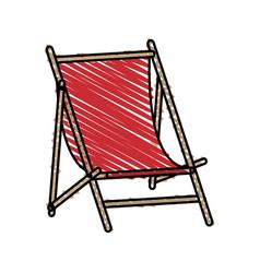 Color crayon stripe wooden chair for beach vector