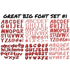English fonts in red bold vector