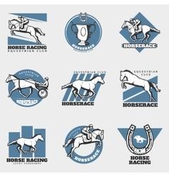 Equestrian sport vintage logos set vector