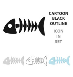 fish bone icon in cartoon style isolated on white vector image