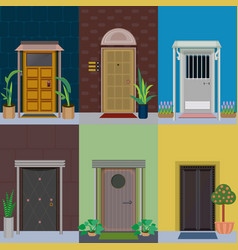 Flat building exterior elements set vector