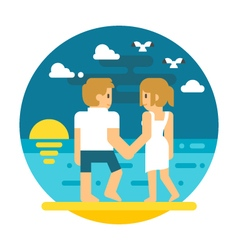 Flat design couple beach walking vector image