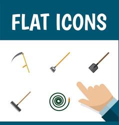 Flat icon farm set of shovel harrow cutter and vector