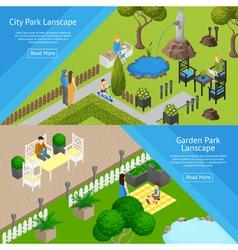 Garden Park Landscape Banners vector image vector image