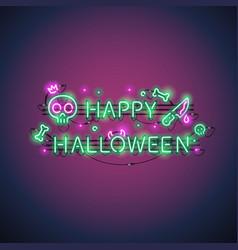 happy halloween neon sign vector image vector image