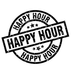 happy hour round grunge black stamp vector image