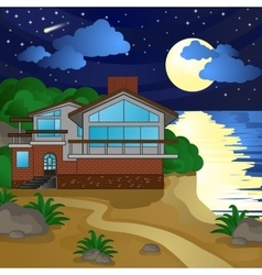 House on the beach night moonlight starry sky vector
